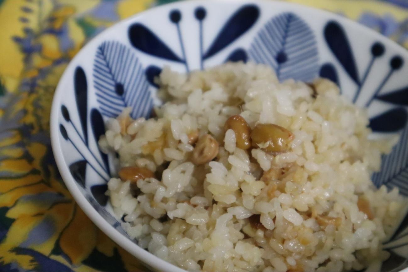 納豆と新生姜の炊き込みご飯